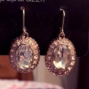 NWOT Rose Gold-tone w/Clear Crystal Earrings